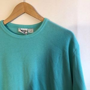 3/$30 VINTAGE Plus Size Ribbed Aqua Blue Tee Top